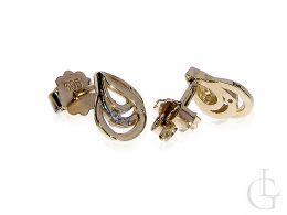 kolczyki złote z brylantami diamentami złoto żółte zapięcie sztyft