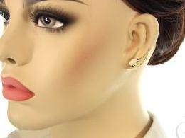 kolczyki srebrne pozłacane skrzydła cyrkonie sztyft srebro realne zdjęcia na modelce uchu kolczyki srebrne na prezent dla żony dziewczyny urodziny imieniny rocznicę pakowanie na prezent