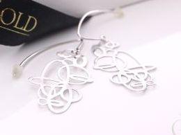 kolczyki srebrne wiszące duże ażurowe srebro realne zdjęcia na modelce uchu kolczyki srebrne na prezent dla żony dziewczyny urodziny imieniny rocznicę pakowanie na prezent