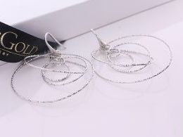 kolczyki srebrne wiszące długie koła kółka diamentowane realne zdjęcia na modelce uchu kolczyki srebrne na prezent dla żony dziewczyny urodziny imieniny rocznicę pakowanie na prezent