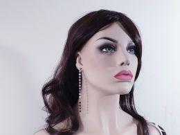 kolczyki długie wiszące kółka bardzo długie zapięcie sztyft srebro 0.925 kolczyki na uchu na modelce na manekinie realne zdjęcie