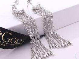 kolczyki srebrne wiszące długie łańcuszek łańcuszki sztyft srebro realne zdjęcia na modelce uchu kolczyki srebrne na prezent dla żony dziewczyny urodziny imieniny rocznicę pakowanie na prezent
