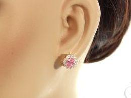 kolczyki srebrne markiza sztyft różowe cyrkonie srebro realne zdjęcia na modelce uchu kolczyki srebrne na prezent dla żony dziewczyny urodziny imieniny rocznicę pakowanie na prezent