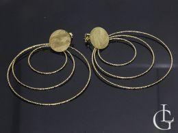 kolczyki srebrne pozłacane diamentowane koła duże kółka wiszące na sztyft kolczyki duże okrągłe na uchu realne zdjęcie