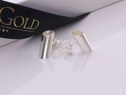 kolczyki srebrne rurka rurki sztyft srebro realne zdjęcia na modelce uchu kolczyki srebrne na prezent dla żony dziewczyny urodziny imieniny rocznicę pakowanie na prezent