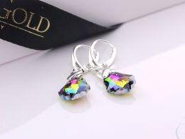 kolczyki srebrne swarovski kolorowe kryształy srebro realne zdjęcia na modelce uchu kolczyki srebrne na prezent dla żony dziewczyny urodziny imieniny rocznicę pakowanie na prezent