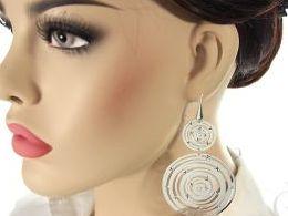 kolczyki srebrne długie wiszące duże koła kółka diamentowane otwarte zapięcie srebro realne zdjęcia na modelce uchu kolczyki srebrne na prezent dla żony dziewczyny urodziny imieniny rocznicę pakowanie na prezent