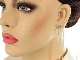 kolczyki srebrne na łańcuszku łańcuszek bigiel srebro realne zdjęcia na modelce uchu kolczyki srebrne na prezent dla żony dziewczyny urodziny imieniny rocznicę pakowanie na prezent