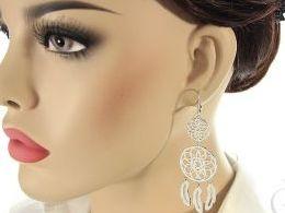 kolczyki srebrne łapacz snów długie wiszące srebro realne zdjęcia na modelce uchu kolczyki srebrne na prezent dla żony dziewczyny urodziny imieniny rocznicę pakowanie na prezent