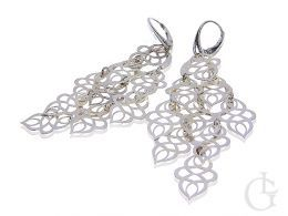 kolczyki srebrne wiszące długie zamknięte zapięcie listki srebrne srebro próba 0.925