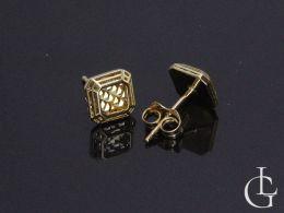 kolczyki złote kwadraty na sztyft złoto żółte