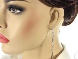 kolczyki srebrne wiszące spinacze spinacz realne zdjęcia na modelce uchu kolczyki srebrne na prezent dla żony dziewczyny urodziny imieniny rocznicę pakowanie na prezent