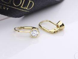 kolczyki złote złot żółte 14k 0.585 z cyrkoniami wiszące realne zdjęcia na modelce uchu kolczyki złote na prezent dla żony dziewczyny urodziny imieniny rocznicę pakowanie na prezent