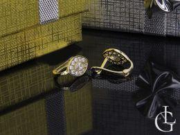 kolczyki złote z cyrkoniami na angielskie zapięcie złoto żółte próba 0.585