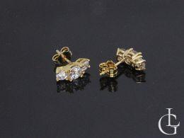 złote kolczyki z cyrkoniami sztyft wkręty złoto żółte
