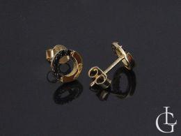złote kolczyki z czarnymi cyrkoniami kółeczka sztyft wkręty