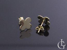 kolczyki złote na uchu czterolistna koniczyna złoto żółte sztyft