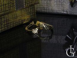 złote kolczyki przecinki diamentowane na angielskie zapięcie złoto żółte próba 0.585 14k