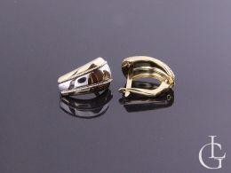 kolczyki złote angielskie zapięcie złoto żółte białe kolczyki wiszące duże szerokie różne wzory na prezent
