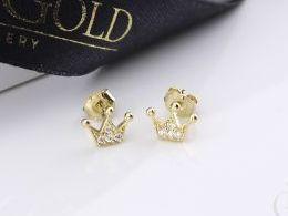 złote kolczyki diamentowane korona korony z cyrkoniami cyrkonie sztyft wkręty złoto żółte i białe próba 0.585 prezent dla żony dziewczyny realne zdjęcie zdjęcia na uchu modelce