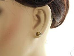 złote kolczyki kulki diamentowane na sztyft kolczyki na uchu realne zdjęcie kulki diamentowane