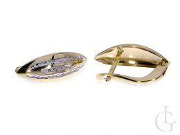 złote kolczyki diamentowane na angielskie zapięcie złoto żółte i białe próba 0.585
