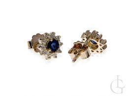 kolczyki złote z brylantami diamentami z szafirem brylant brylanty diament diamenty szafir szafiry zapięcie sztyft złoto żółte 0.585