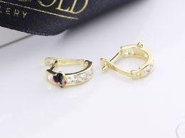 złote kolczyki myszka miki mickey diamentowane na angielskie zapięcie złoto żółte i białe próba 0.585 prezent dla żony dziewczyny