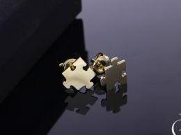 kolczyki złote złot żółte 14k 0.585 puzzle zapięcie sztyft wkręty realne zdjęcia na modelce uchu kolczyki złote na prezent dla żony dziewczyny urodziny imieniny rocznicę pakowanie na prezent