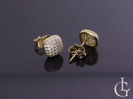 złote kolczyki kwadrat z cyrkoniami kolczyki na uchu realne zdjęcie złoto żółte kolczyki złote różne wzory na sztyft wkręty