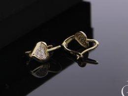 kolczyki złote serduszka serca z cyrkoniami angielskie zapięcie złoto żółte próba 0.585 14k kolczyki na prezent dla żony dziewczyny na chrzest dla dziewczynki