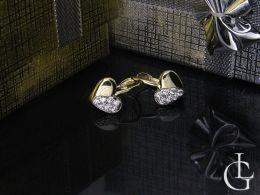 złote kolczyki serduszka z cyrkoniami klasyczne zamknięcie klasyczne złoto żółte próba 0.585 14ct
