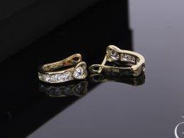 kolczyki złote serduszka serca przecinki angielskie zapięcie złoto żółte próba 0.585 14k kolczyki na prezent dla żony dziewczyny na chrzest dla dziewczynki