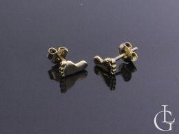 kolczyki złote stópki stopy symbol narodziny dziecka dziecko chrzest kolczyki na sztyft wkręty złoto żółte próba 0.585