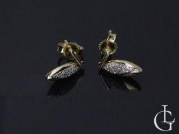 złote kolczyki z brylantami wiszące sztyft złoto żółte