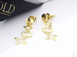 złote kolczyki wiszące koniczynka kółko sztyft zapięcie wkręty złoty złoto żółte próba 0.585 realne zdjecia zdjecie na uchu modelce przeciagalne kulki na lancuszku