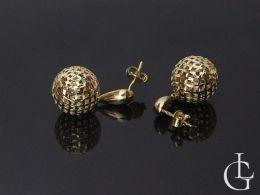 kolczyki złote kulki ażurowe złoto żółte