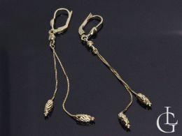 złote kolczyki wiszące łańcuszek złoto żółte