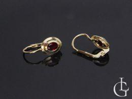 kolczyki złote z rubinowymi cyrkoniami złoto żółte
