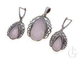 komplet biżuterii srebrnej z kwarcem różówym