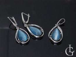 komplet biżuterii srebrnej z uleksitem ULEKSYT kolczyki wiszące i wisiorek na łańcuszek srebro 0.925 realne zdjęcia na modelce komplety srebrne różne na prezent