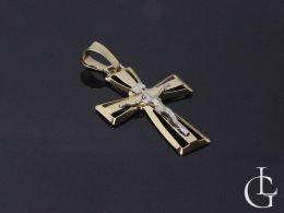 złoty krzyż krzyżyk duży z Panem Jezusem złoto żółte białe próba 0.585