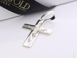 krzyżyk krzyż srebrny z Panem Jezusem na łańcuszek na prezent pamiątkę komunię chrzest srebrne dewocjonalia realne zdjęcia