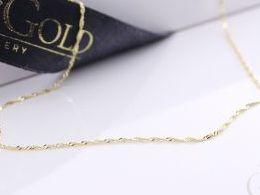 łańcuszek złoty splot singapur złoto 585 14K damski męski pancerka i na prezent do kompletu łańcuszki srebrne damskie męskie realne zdjęcia na modelce szyi łańcuszek złoty na prezent na urodziny imieniny chrzciny rocznicę komunię walentynki pod choinkę na