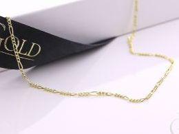 łańcuszek złoty splot figaro złoto 585 14K damski męski pancerka i na prezent do kompletu łańcuszki srebrne damskie męskie realne zdjęcia na modelce szyi łańcuszek złoty na prezent na urodziny imieniny chrzciny rocznicę komunię walentynki pod choinkę na M