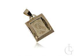 złoty medalik z Matką Boską prostokątny na łańcuszek złoto żółte próba 0.585 14ct