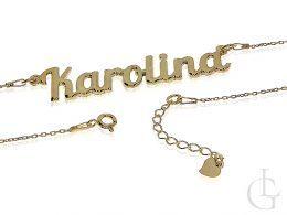 naszyjnik damski z imieniem Karolina srebro naszyjnik łańcuszkowy łańcuszek splot ankier