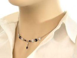 naszyjnik srebrny kolia szafir szafiry cyrkonie prezent dla żony dziewczyny na urodziny imieniny rocznicę pod choinkę realne zdjęcia na modelce szyi