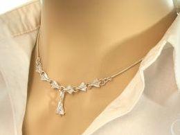 naszyjnik srebrny kolia cyrkonie prezent dla żony dziewczyny na urodziny imieniny rocznicę pod choinkę realne zdjęcia na modelce szyi