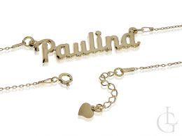 imię Paulina naszyjnik damski srebrny rodowany łańcuszek z wisiorkiem zawieszka srebro naszyjniki damskie srebrne z imionami